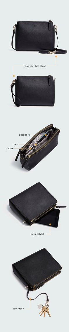 """""""The Pearl"""" - leather crossbody bag. Converts to a clutch, fits everyday and travel essentials, dedicated pocket for mini tablets, and is crafted from a scratch & water resistant Saffiano leather. Designed by Lo & Sons #loandsons"""
