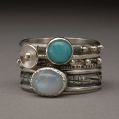 Size 8.75 Moonstone and Amazonite Sterling Silver Stack Ring Set (5 rings) on Etsy, $215