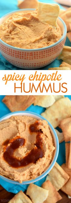 This Spicy Chipotle Hummus is easy to throw together and makes a perfect appetizer or snack!