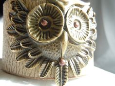 Antiqued Owl Recycled leather Cuff Bracelet by TimeFound on Etsy, $14.00