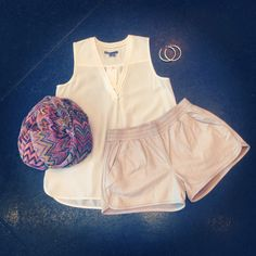 New Vince top, June shorts, Sheila Fajl hoops & Missoni scarf • call 919-881-9480 to order!