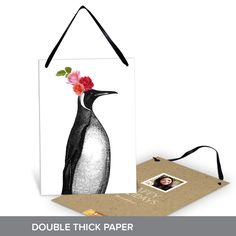 Your christmas card can stand out this year by sending a penguin in holiday party attire! It's even printed on double thick paper and can be used as year-round decor! #creative #holiday #ChristmasCards #PremiumCards
