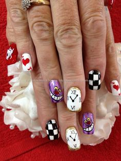 Freehand Alice in wonderland nail art