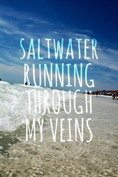 Saltwater Running Through My Veins - 50 Warm and Sunny Beach Therapy Quotes - Style Estate -