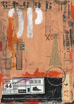Print Art Abstract Drawing Collage Mixed Media  Painting by rcolo, $9.40
