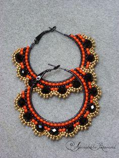 """Boucles d'oreilles """"Flamenco"""" tissage à l'aiguille point brick stitch : Boucles d'oreille par annabelle-b"""