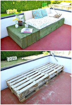 wood pallet ideas DIY Pallet Patio Daybed - Pallet Projects - 150 Easy Ways to Build Pallet Projects - DIY Diy Pallet Projects, Pallet Ideas, Outdoor Projects, Home Projects, Woodworking Projects, Outdoor Decor, Pallet Designs, Craft Projects, Bar Outdoor