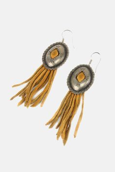 Vintage Fringe Leather Concho Earrings - One More Chance