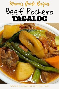 Slurp your way to happiness with this Beef Pochero Tagalog recipe. Its not delic… Slurp your way to happiness with this Beef Pochero Tagalog recipe. Its not delicious, its very delicious! Celebrate your weekend Pork Recipes, Asian Recipes, Cooking Recipes, Vegetarian Recipes, Recipies, Beef Recipe Filipino, Pinoy Food Filipino Dishes, Best Filipino Recipes, Asian Food Recipes