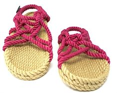 d8a9873d9b78 This womens camel and fushcia color rope sandal is sure to make you smile!  Adjustable