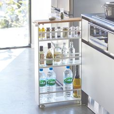 Keep your bathroom organized while saving space with the Rolling Bathroom Storage Tower. This storage tower can hold all of your bathroom necessities. Designed with 3 shelves to maximize space. Kitchen Storage Trolley, Rolling Storage Cart, Kitchen Cart, Kitchen Organization, Ikea Kitchen Storage, Rolling Shelves, Kitchen Storage Solutions, Kitchen Hacks, Regal Bad