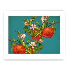 "Apples on Branch: Decorative Vegetable Art Reproduction 8"" x 10"""