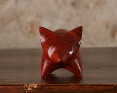 Wooden Fox hand carved from Padauk wood by Perry Lancaster
