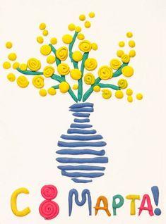 открытка на 8 марта своими руками Kindergarten Art Lessons, Play Doh, Drawing For Kids, Art For Kids, Projects For Kids, School Art Projects, Crafts For Kids, Handmade Crafts, Creations