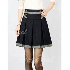 Vintage Color Matching Four Buttons Worsted Women's Pleated Skirt