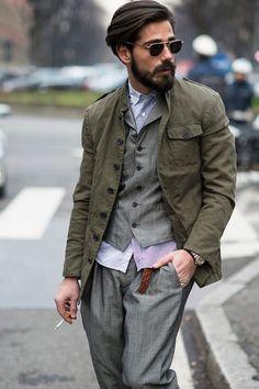 Mens style, olive green , waistcoat, men's fashion, pleated chino