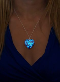 Blue Glowing Heart Necklace - Glow in the Dark Jewelry by EpicGlows - #glowing #necklace #mothersday