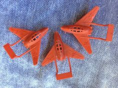 3 Red Fighter Jet Air Force Navy ? Plastic Cake Decoration Topper TRUE VINTAGE