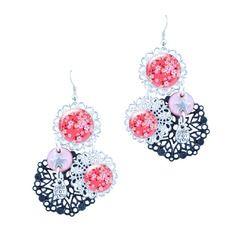 Boucles d'oreilles rose et noire pendantes - boucles d'oreilles by milacrea