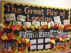 Great Fire of London Display Boards For School, School Displays, Classroom Displays, Classroom Themes, Classroom Board, The Fire Of London, Fire Crafts, Working Wall, London Wall