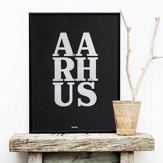 Letterpressed 50x70 cm cotton poster. Aarhus, Denmark