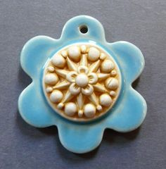 Image of Happy Flower Layered Pendant in Turquoise & Saffron - #6