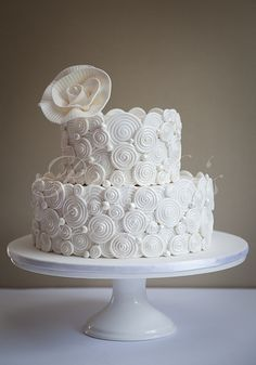 Beautiful Cake Pictures: Amazing White Swirls Two Tiered Wedding Cake Picture - Cakes with Icing, Wedding Cakes, White Cakes - White Wedding Cakes, Beautiful Wedding Cakes, Beautiful Cakes, Amazing Cakes, Cake Wrecks, Pretty Cakes, Cute Cakes, Sweet Cakes, Cake Candy
