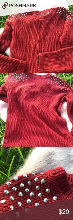 Burgundy Studded Sweater Boutique shop burgundy studded sweater It's a baggy fit sweater Boohoo Sweaters Crew & Scoop Necks