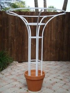 I plan to make big trees out of black berry and raspberry bushes, using rebar bundled together in this shape. I think I'll use a bigger pot tho. Garden Deco, Garden Yard Ideas, Garden Projects, Garden Art, Garden Design, Garden Walls, Garden Trellis, Garden Planters, Topiary Garden