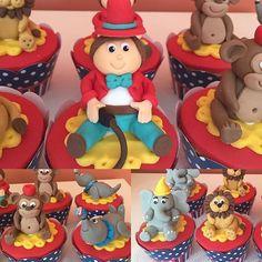 """Cupcakes modelados festa circo vintage<span class=""""emoji emoji1f418""""></span><span class=""""emoji emoji1f412""""></span><span class=""""emoji emoji1f3aa""""></span><span class=""""emoji emoji1f3a9""""></span> #benditosbrigadeiros #doces ..."""