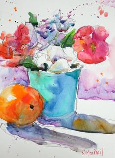 "by Nora MacPhail - Hand Painted Original Watercolour Painting titled ""splash and splatter"" - home decor, wall hanging, flowers, gift - 6x8""painting + 8x10""matt"