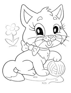 Cat Coloring Page, Online Coloring Pages, Animal Coloring Pages, Coloring Book Pages, Coloring Pages For Kids, Coloring Sheets, Color Worksheets For Preschool, Baby Quilt Patterns, Cartoon Sketches
