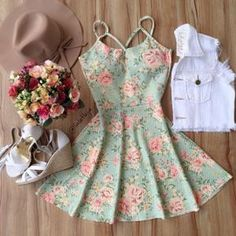 Good for summer Girly Outfits, Dress Outfits, Casual Dresses, Short Dresses, Casual Outfits, Fashion Dresses, Dress Up, Summer Dresses, Kawaii Fashion