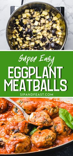 Eggplant makes such a great substitute for the heartiness and texture of a traditional meatball. Flavored with Pecorino Romano, basil, garlic and breadcrumbs these vegetarian eggplant meatballs are sure to become a family favorite! Vegetable Recipes, Vegetarian Recipes, Cooking Recipes, Healthy Recipes, Vegetarian Appetizers, Recipes With Eggplant Healthy, Eggplant Meatballs, Vegetarian Meatballs, Gluten Free Puff Pastry