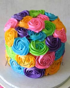 Bright Buttercream Roses Cake