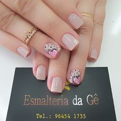 Meninas olhem que amor by @esmalteriadage Gel Nail Art, Manicure And Pedicure, Acrylic Nails, Gel Nails, Nail Art Designs Videos, Nail Designs, Fancy Nails, Cute Nails, Nailart