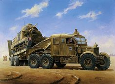 Scammell Pioneer 1942 by Mike Jeffries - Scammell Pioneer Tank Transporter recovers a General Grant tank in the Western Desert in British Armed Forces, Truck Paint, Military Art, Military Weapons, Unique Cars, Commercial Vehicle, Armored Vehicles, War Machine, Heavy Equipment