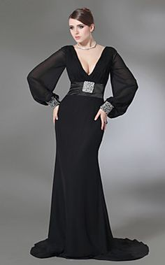Trumpet/Mermaid V-neck Sweep Train Chiffon And Stretch Satin... – USD $ 149.99