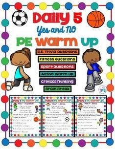 Elementary PE Yes or No Daily 5 Warm Up Exercise & Comprehension Activity This resource is perfect f Physical Education Curriculum, Physical Activities For Kids, Pe Activities, Comprehension Activities, Movement Activities, Fitness Activities, Fitness Games, Health Education, Science Education