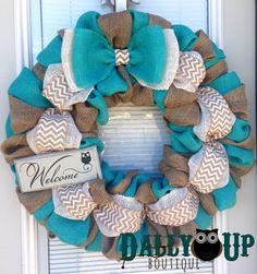 Burlap Wreath, Natural and Teal - White Chevron Burlap Wreaths, Wreath for All Year, Welcome Owl Wreath, Teal Wreath, Yellow Burlap by DallyUpBoutique on Etsy https://www.etsy.com/listing/187656278/burlap-wreath-natural-and-teal-white