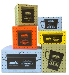 Mini Moderns Enamelware packaging in Peggy wallpaper to give a hardware shop look