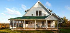 Holly Ridge Farmhouse~We like the roofline, shed dormers & board + batten siding.
