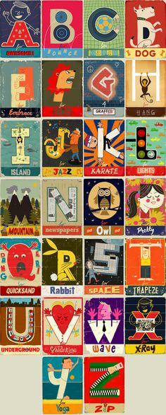Paul Thurlby's Alphabet book - illustrations, pages could be used as kid's alphabet wall art