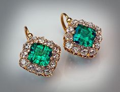 Antique French Emerald and Diamond Cluster Earrings #Cluster