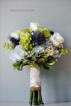 wedding bouquet blue white and green