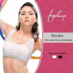 Rhythm sports bra comforts and gets in Rhythm with your body when working out. The power nets on the sides facilitate breathing to the skin. Shop for Feelings : on.fb.me/TPxvXo — with Carlos Mathew.