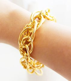 GILDED HALO - Vintage estate jewelry inspired chunky hoop gold chain bracelet // 14k gold plated Fleet Signature charm // chain // wrap // b...