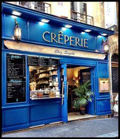 Chez Suzette – Some of the best crepes in Paris, France! Love the royal blue fro… Chez Suzette – Some of the best crepes in Paris, France! Love the royal blue front of the restaurant – a beautiful color! Restaurant Paris, Paris Cafe, Restaurant Exterior, Montmartre Paris, Paris Travel, France Travel, Creperia Ideas, Crepes, Office Shop