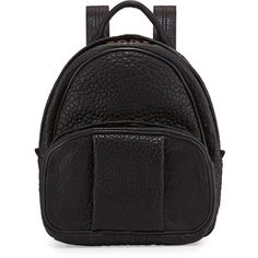 Alexander Wang Dumbo Leather Backpack (4,295 ILS) ❤ liked on Polyvore featuring bags, backpacks, black, leather bags, real leather backpack, alexander wang bag, leather strap backpack and black rucksack