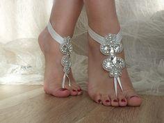 Rhinestone Beach wedding barefoot sandals,    ByVivienne - Wedding on ArtFire